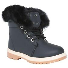 KIDS ANKLE BOOTS GIRLS BOYS FUR LINED GRIP SOLE ARMY COMBAT WINTER SNOW SHOES