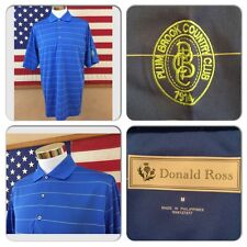 EXC COND DONALD ROSS MENS MEDIUM COOL PERFORMANCE BLUE POLYESTER POLO GOLF SHIRT