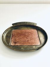 """Vintage Brass Metal Oval 7"""" Pocket Change Hunters Collector Plate Tray Dish"""