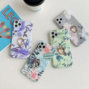 Laser Flower Ring Bracket Luxury Fashion Women Girl Case Cover For Various Phone