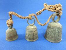 New listing c.1900 Antique Wind Chime ~Bronze~ Temple Tri-Bell w/ Painted Script + Verdigris