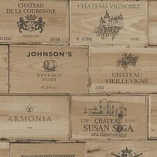 Wine Crates Wallpaper Natural Wooden Boxes French Stamp Print 30477-1