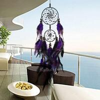 Purple Feather Bead Handmade Dream Catcher Wall Home Car Hanging Ornament Gift