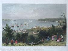 c1839 Antique Engraved Print Narrows Staten Island Brooklyn New York Bartlett