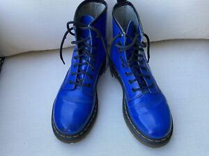 Dr. Doc Martens Royal Blue Patent Leather Boots  The Original -US Sz 7