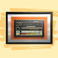 A2 42x60cm Framed Roland TR - 808 drum machine printed direct to Aluminium - NEW
