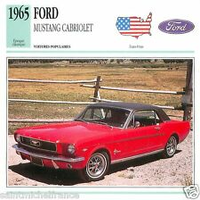 FORD MUSTANG CABRIOLET 1965 CAR VOITURE UNITED STATES ÉTATS UNIS CARD FICHE