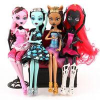 4Pcs Set Monster High Doll Lot Draculaura Wydowna Spider Frankie Stein Clawdeen