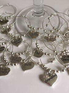 Silver Wedding Guest Wine Glass Charms *Personalised* Table Decoration Favour