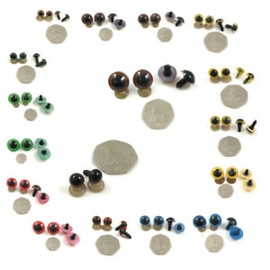 TEDDY BEAR EYES 5mm-35mm GLASS LIKE SHINE *8 COLOURS & 13 SIZES* TOY SEWING