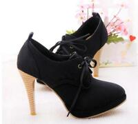 Womens Platform Round Toe Stilettos Ankle Boots High Heel Lace Up High Top Shoes