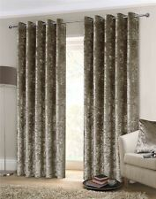 "LUXURY THICK CRUSHED VELVET MINK BEIGE LINED RING TOP WOVEN CURTAINS 66"" X 90"""