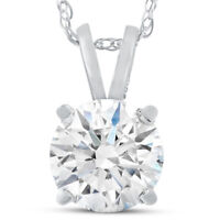 VS 3 Ct Moissanite Solitaire Pendant 14k White Gold Womens Necklace