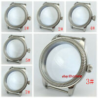44mm silver watch case fit eta 6497/6498 Seagull ST36 movement watches