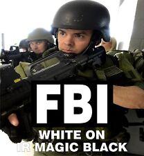 "FBI WHITE ON MAGIC BLACK IR solasX PATCH 3.5""X2"" WITH VELCRO® BRAND FASTENER"