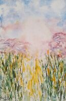 "Original watercolor landscape sunrise impressionism 6"" by 9"" MATTED"