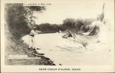 Coeur D'Alene ID Fishing Exaggeration Real Photo Postcard