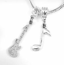 Guitar charm Huge sale Electric guitar and music note charm set Charms only