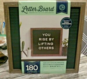 """NEW Dark Wood & Black LETTER BOARD W/ 180 White Characters & Letters 12"""" Square"""