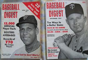 BASEBALL DIGEST April and September 1962 Sept