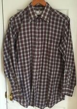Etienne Aigner Burgundy And Navy Plaid Button Down Long Sleeve Shirt 16 32/33