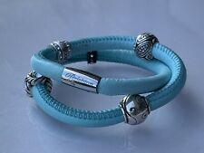 """Brighton Woodstock Light Blue Leather Double Bracelet with 5 Brighton Charms 16"""""""