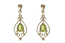 Peridot Earrings Yellow Gold Solid 9 Carat Drop Victorian Design Drops