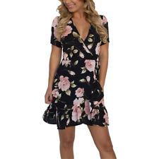 Women Summer Wrap V-neck Evening Party Floral Chiffon Mini Dress Cocktail 6 - 18