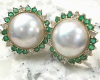 Vintage Mabe Pearl Earrings with Diamonds & Colombian Emeralds