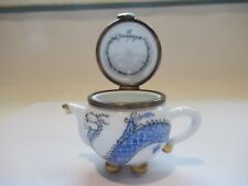 Peint Main Limoges Trinket-Boule Teapot In Serpentine Design