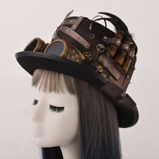 Gothic Top Hat Party Hat Black Feather Goggles Top Hat Halloween Hat Unisex