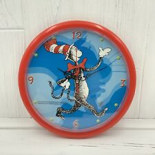"""2003 Universal Studios Giftco Inc Cat in the Hat Round Wall Clock 9.5"""" Plastic"""