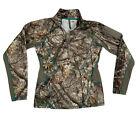 Women's CABELAS Small 4 Most Inhibit 1/4 Zip Woodland Camo Hunting Long Sleeve
