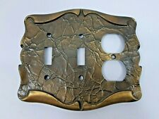 Vintage Amerock Carriage House 2 Toggle Light Switch Single Outlet Plate Brass