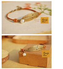 Women's Dainty Simple Vintage Feather Charm Leather Bangle Bracelet Jewellery UK