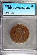 1853 - Icg Vf30 Details (Scratched) Braided Hair Large Cent! #B18328