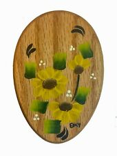 Amish Magic Marble Holder Oak Sunflowers Painted - The Original - Free Delivery!