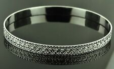 18k solid white gold  diamond cut bangle  bracelet 13.50 grams h3jewels #1417