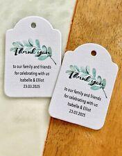 Thank You Wedding Tags Eucalyptus Greenery Botanical Olive Branch Flowers Leaf