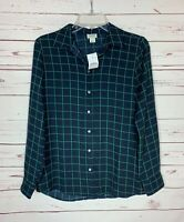 J.Crew Women's XS Extra Small Navy Plaid Cute Button Spring Top Blouse NEW TAGS