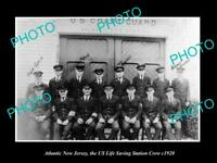 OLD LARGE HISTORIC PHOTO OF ATLANTIC CITY NEW JERSEY, LIFE SAVING CREW c1920