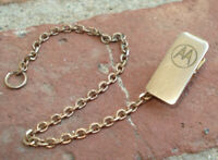 Vintage Gold Tone Jewelry Clip and Chain MOTOROLA Logo Emblem Unknown Estate