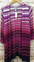 Catherines cardigan duster womens 2X new open front striped pointelle 3/4 slv B2
