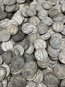 (10) Silver War Nickels 1942-1945 Wartime 35% WWII Jefferson Nickel 50 cent face