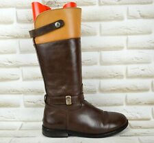 TOMMY HILFIGER Womens Brown Leather Long Mid High Boots Shoes Size 5 UK 38 EU