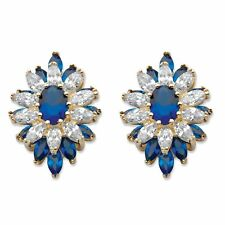 3 TCW Created Blue Spinel and Cubic Zirconia 14k Gold-Plated Floral Earrings