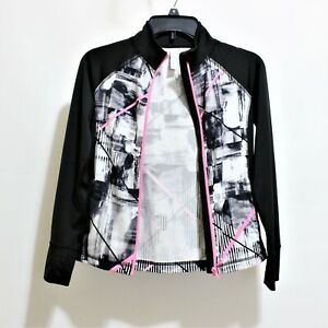 IDEOLOGY Women Long Sleeve Full Zip-Up Athletic Jacket Size M Black Pink Color