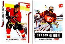 2x SCORE 2011 JAY BOUWMEESTER #92 MIIKKA KIPRUSOFF #23 FLAMES GLOSSY CARD LOT