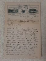 LETTER HEAD LONG BRANCH 1891 New Jersey MONMOUTH COUNTY Hotel Scarboro RARE