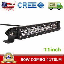 11inch 50W Single Row CREE Slim Led Offroad Light Bar Combo Boat 4WD Truck Ford